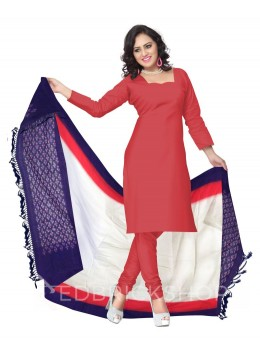 POCHAMPALLY IKKAT PLAIN STRIPED BORDER OFF-WHITE, RED, PURPLE COTTON DUPATTA