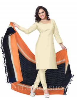 POCHAMPALLY IKKAT DIAGONAL LINE BLUE, ORANGE COTTON DUPATTA