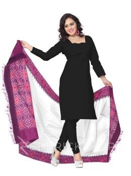 POCHAMPALLY IKKAT PLAIN FLORAL BORDER OFF-WHITE, PURPLE COTTON DUPATTA