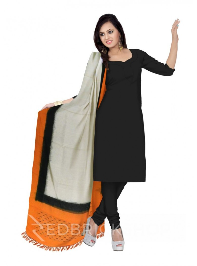 POCHAMPALLY IKKAT PLAIN STRIPED BORDER OFF-WHITE, YELLOW, GREEN COTTON DUPATTA