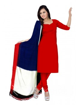 POCHAMPALLY IKKAT BLOCK BLUE, OFF-WHITE, RED, BLACK COTTON DUPATTA