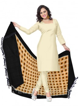 POCHAMPALLY IKKAT SQUARES YELLOW, OFF-WHITE, BLACK COTTON DUPATTA