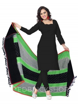 POCHAMPALLY IKKAT SMALL CHECKS, ZIGZAG, GREEN, BLACK, WHITE COTTON DUPATTA