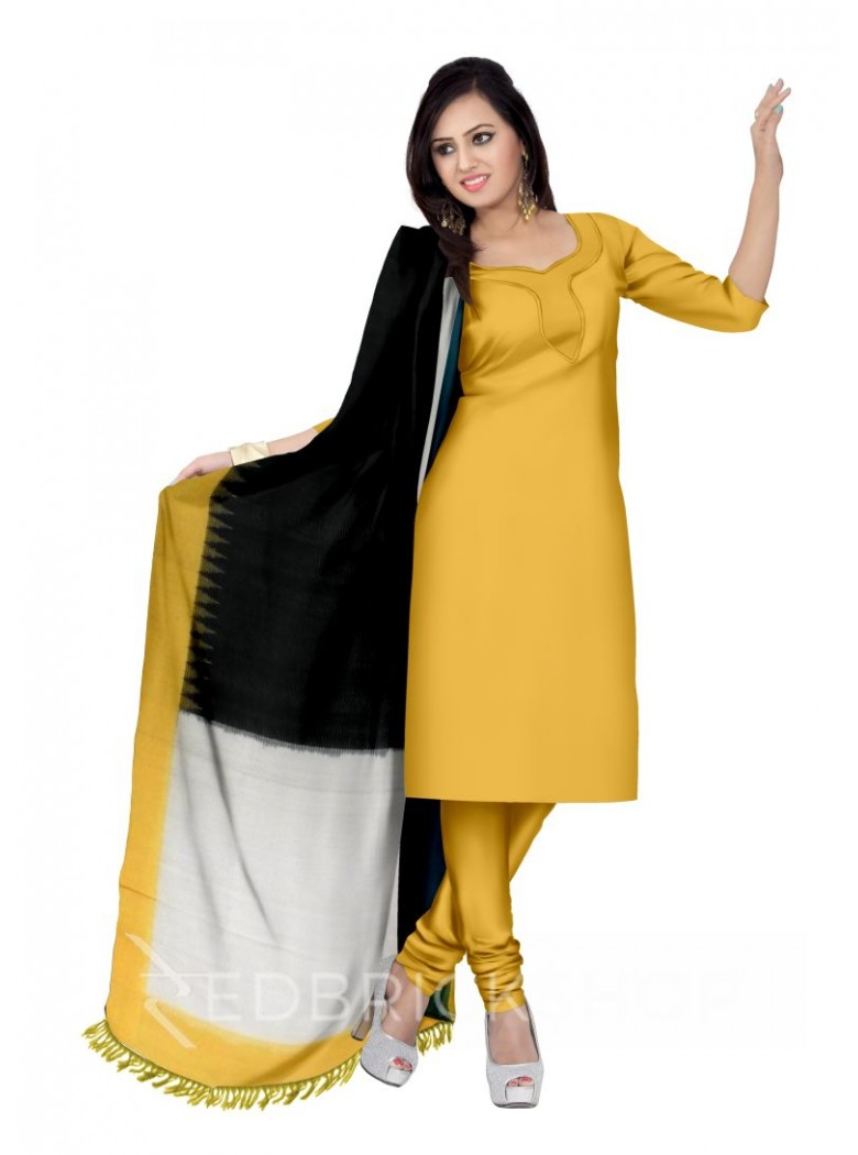 POCHAMPALLY IKKAT BLOCK BLACK, OFF-WHITE, GREEN, YELLOW COTTON DUPATTA