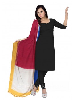 POCHAMPALLY IKKAT BLOCK MAGENTA, PINK, OFF-WHITE, YELLOW, BLUE COTTON DUPATTA