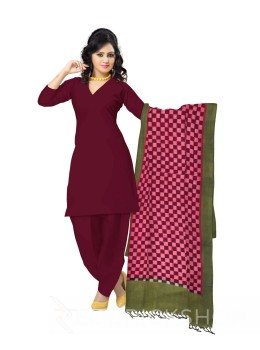 POCHAMPALLY IKKAT CHECKS MAROON, OLIVE GREEN COTTON DUPATTA