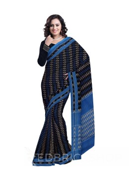 POCHAMPALLY IKKAT ZIGZAG TEMPLE BLUE, WHITE COTTON SAREE