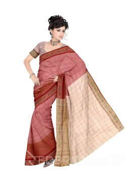 POCHAMPALLY IKKAT CHECKS BEIGE, MAROON COTTON SAREE