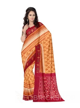 POCHAMPALLY IKKAT BUD ZIGZAG ORANGE, MAROON COTTON SAREE
