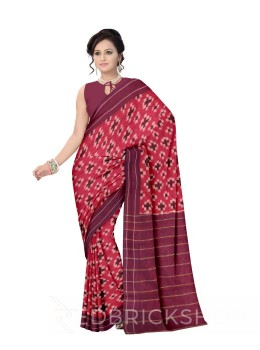 POCHAMPALLY IKKAT CROSS MAROON COTTON SAREE