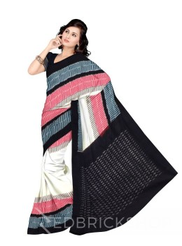 POCHAMPALLY IKKAT LINE FENCE CREAM, BLACK COTTON SAREE
