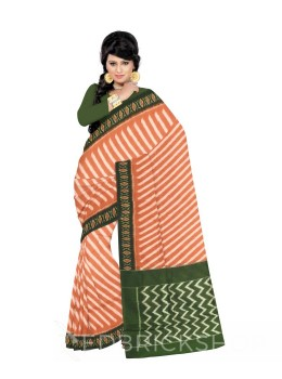 POCHAMPALLY IKKAT DIAGONAL LINE RUST, GREEN COTTON SAREE