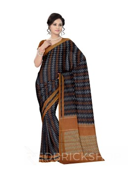 POCHAMPALLY IKKAT ZIGZAG TEMPLE BLACK, MUSTARD COTTON SAREE