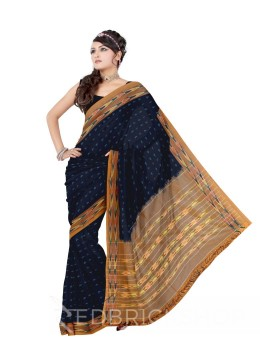 POCHAMPALLY IKKAT SMALL CROSS BLUE, MUSTARD COTTON SAREE