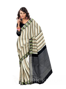 POCHAMPALLY IKKAT BROAD STRIPE CREAM, BLUE, KHAKI COTTON SAREE