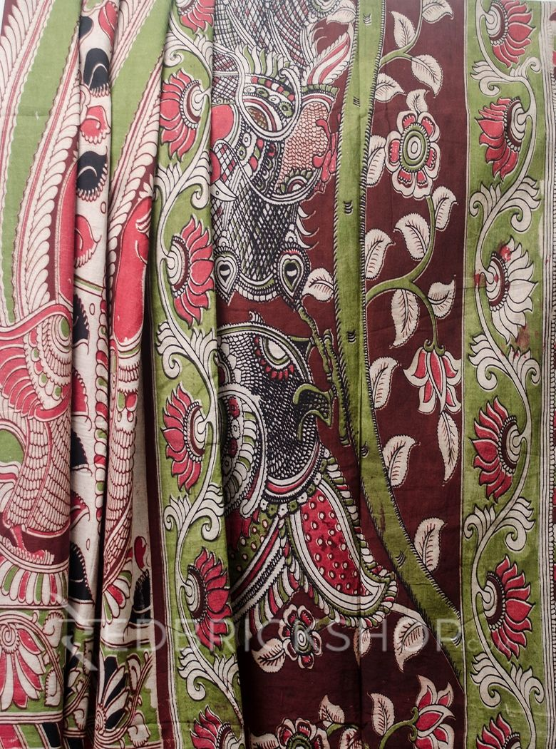 KALAMKARI PEACOCK MAROON-GREEN-ROSE COTTON SAREE