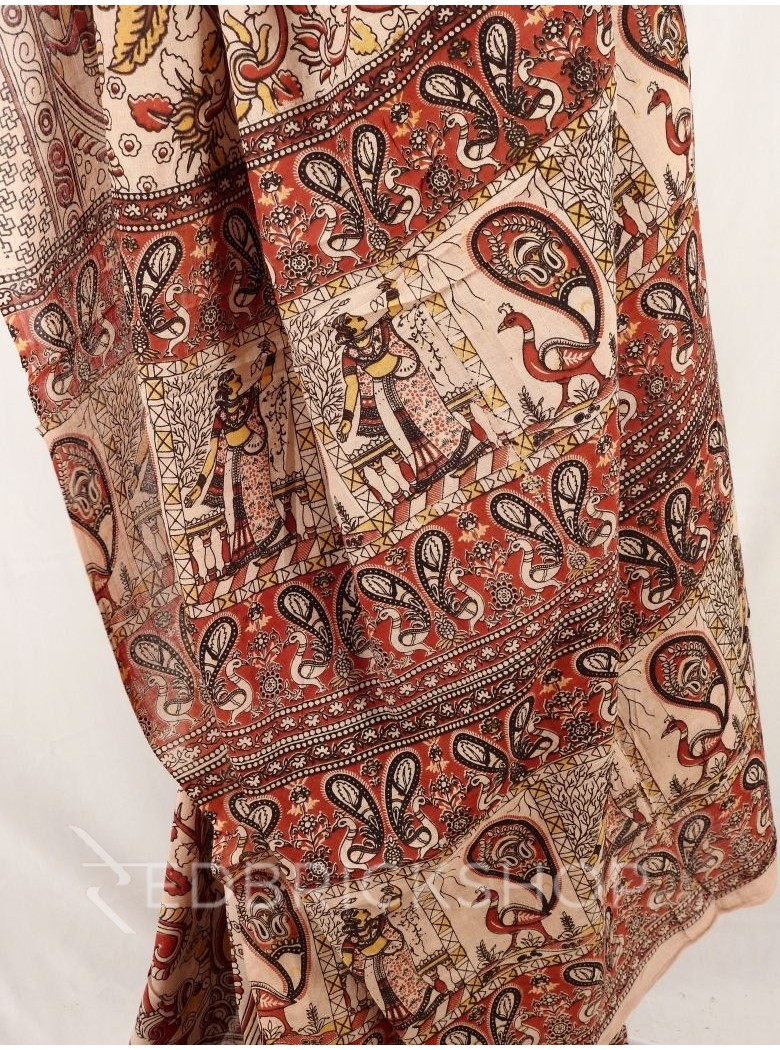 KALAMKARI FLORAL PAISLEY CREAM RED YELLOW SAREE