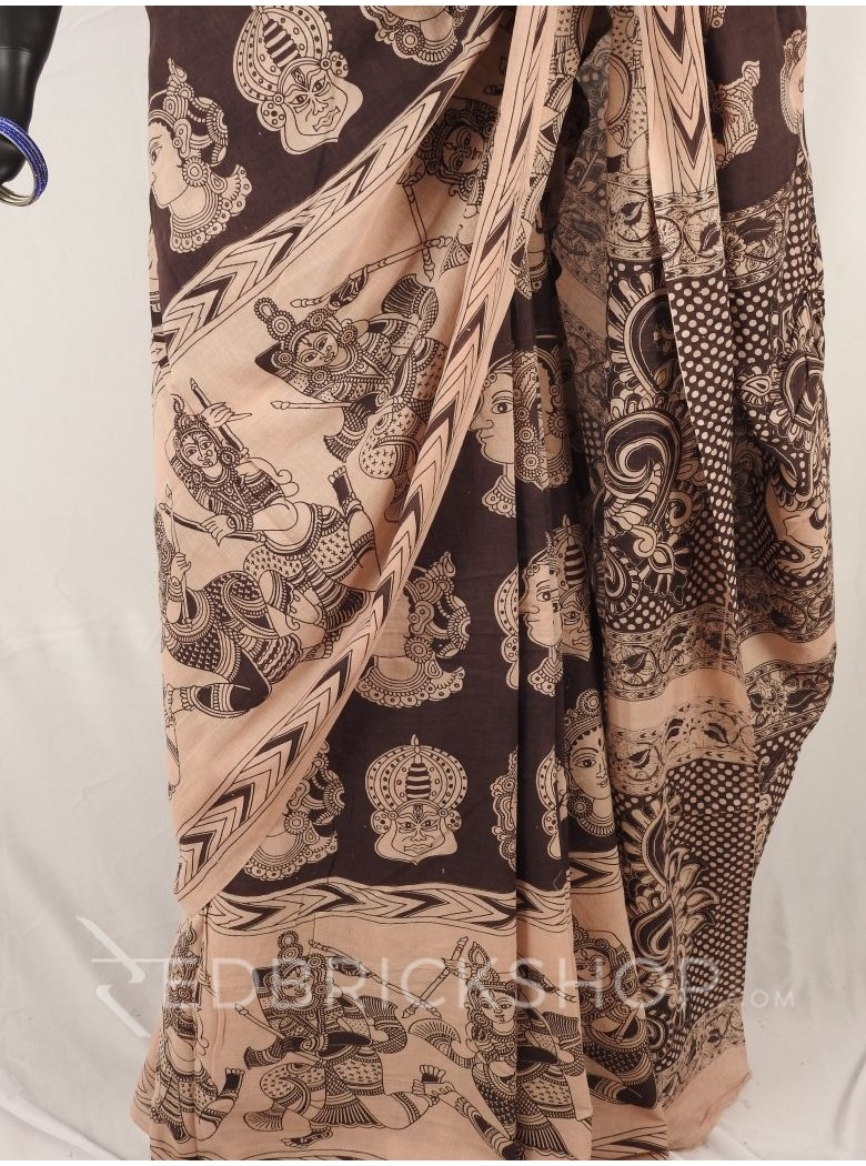 KALAMKARI FACES BLACK CREAM SAREE