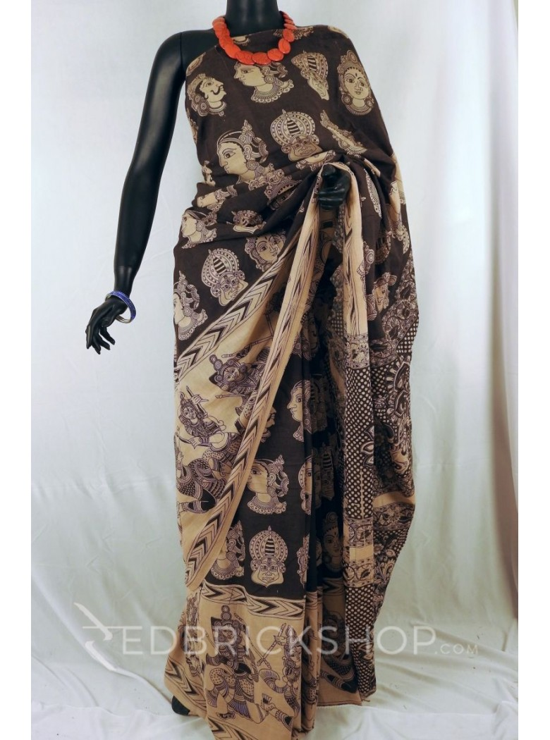 Buy Kalamkari Faces Black Cream Saree Kalamkari Sarees