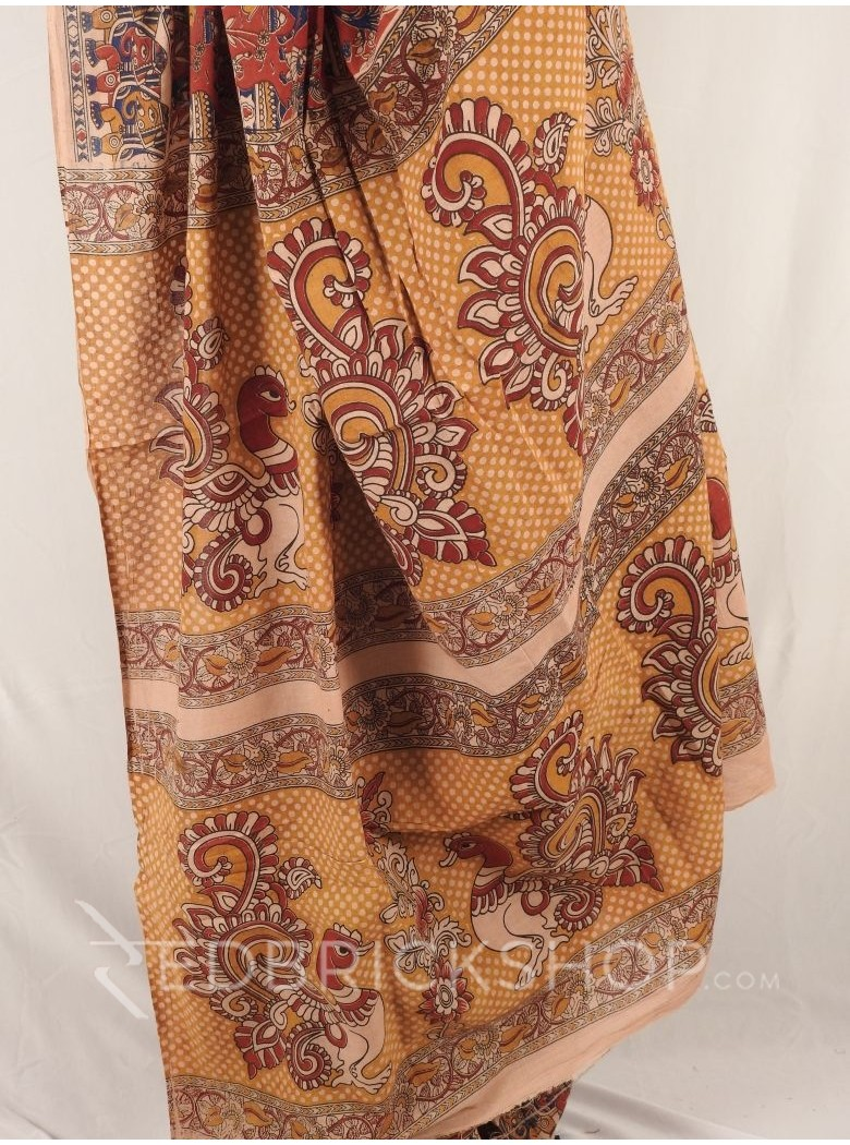 KALAMKARI MONUMENT TREES RED INDIGO MUSTARD SAREE