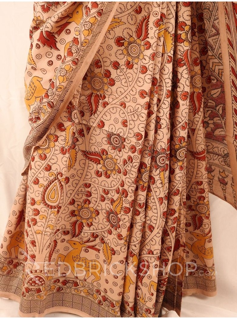 KALAMKARI FLORAL LEAF DEER CREAM RED YELLOW SAREE