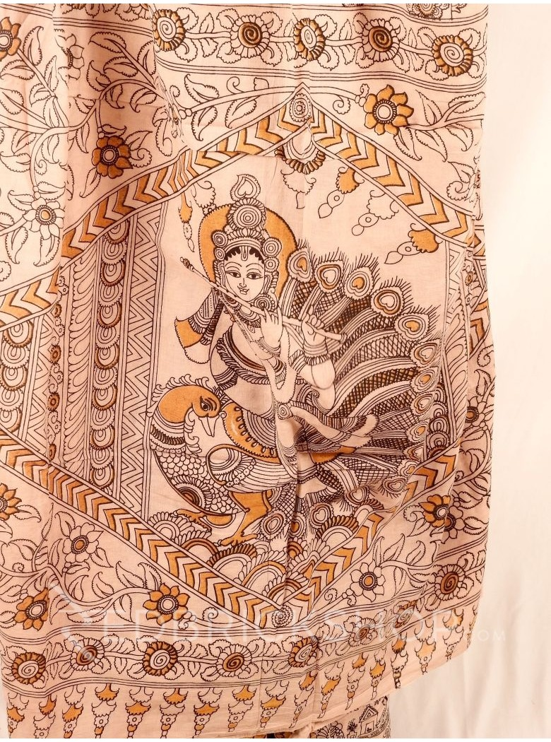 KALAMKARI COW FLORAL CREAM MUSTARD SAREE