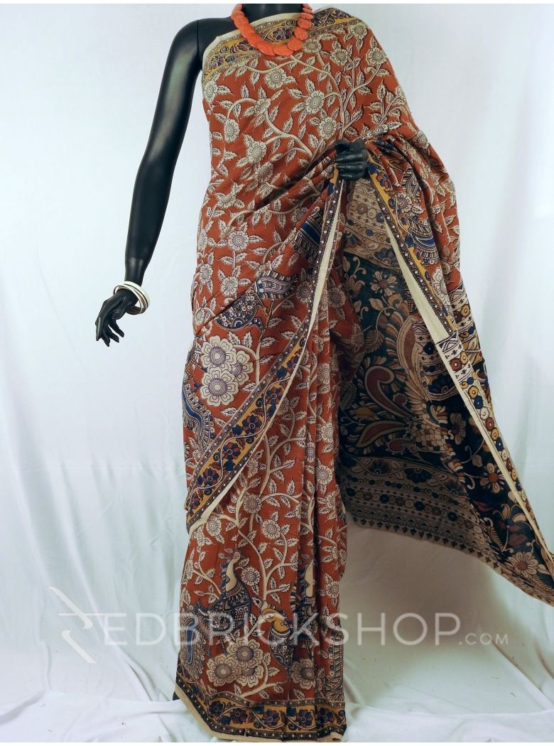 KALAMKARI FLORAL PEACOCK RED CREAM INDIGO SAREE