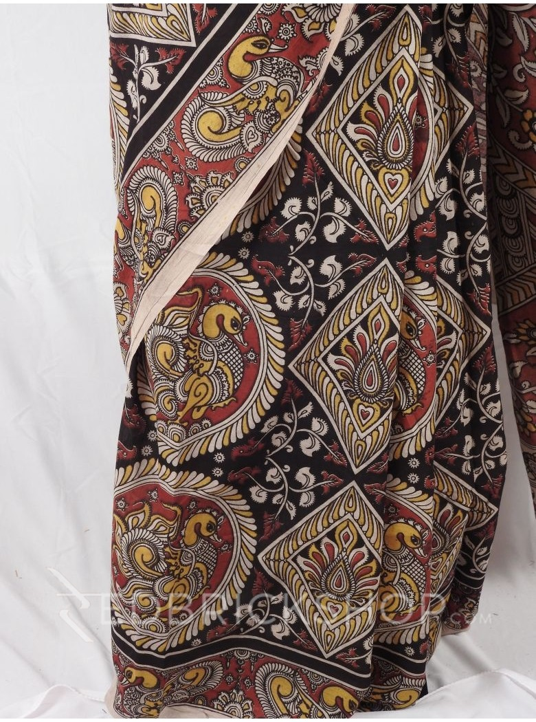KALAMKARI DIAMOND CIRCLE BLACK RED YELLOW SAREE