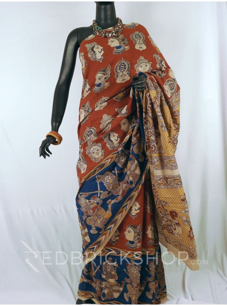 KALAMKARI FACES RED INDIGO MUSTARD SAREE