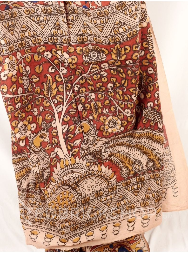 KALAMKARI FLORAL BIG PEACOCK RED INDIGO CREAM MUSTARD