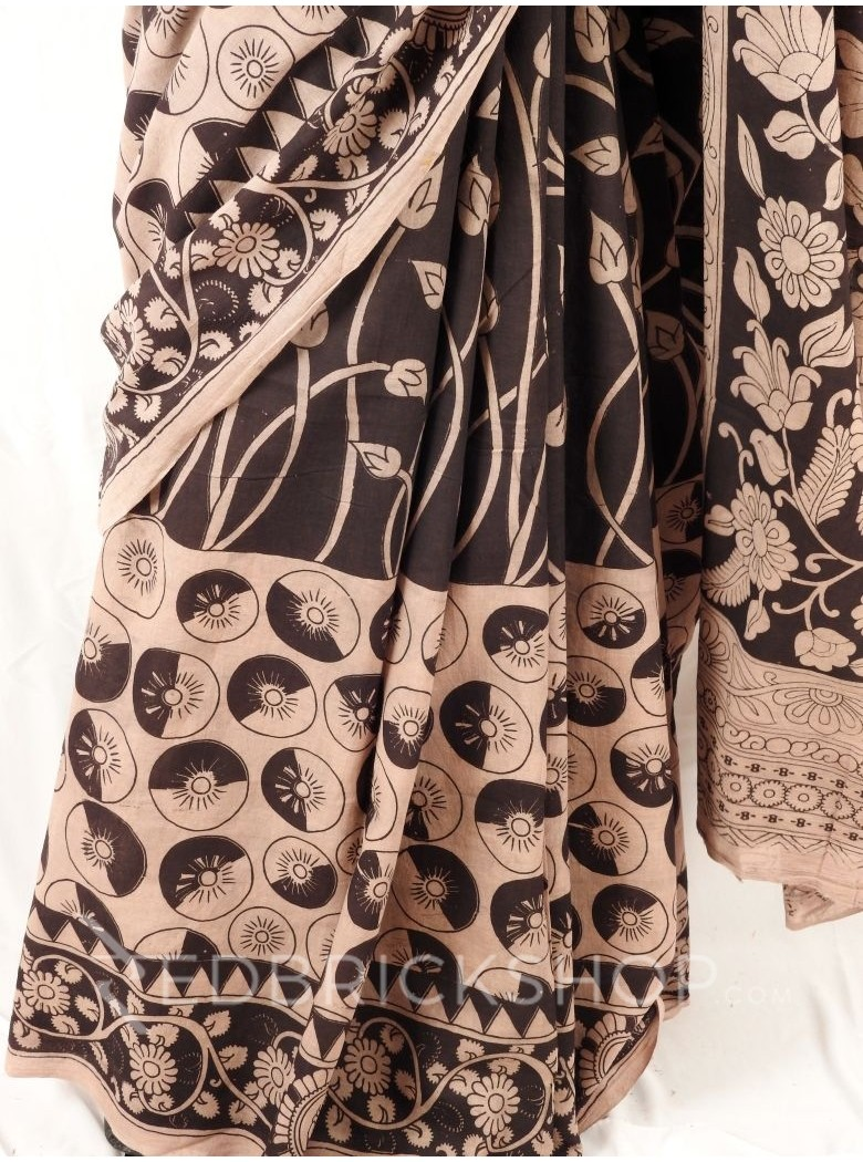 KALAMKARI CIRCLE LOTUS BUD BEIGE BLACK SAREE