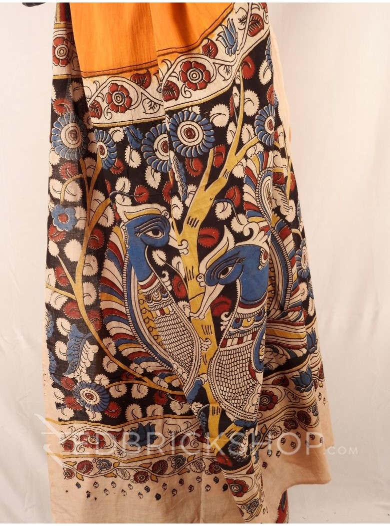 KALAMKARI PLAIN FLORAL YELLOW SAREE