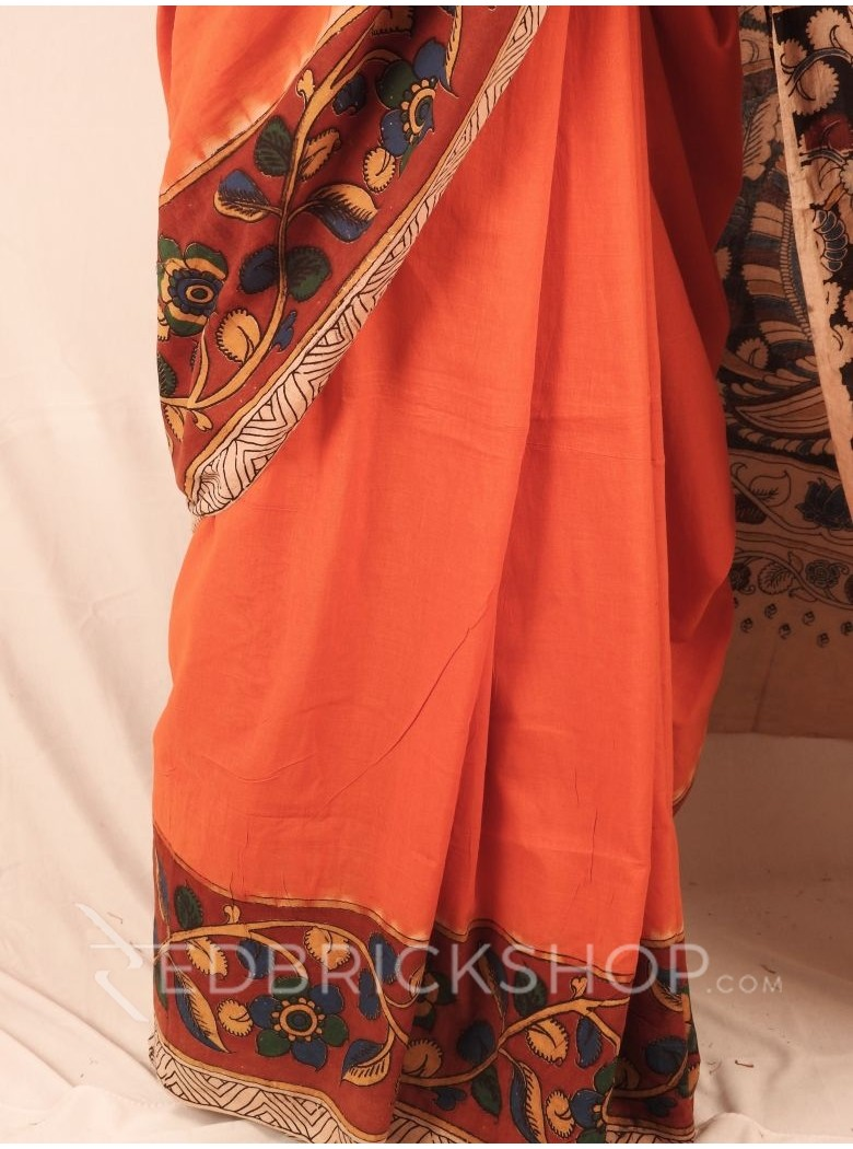 KALAMKARI PLAIN FLORAL ORANGE SAREE