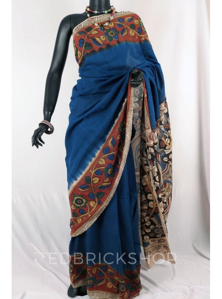 KALAMKARI PLAIN FLORAL BLUE SAREE