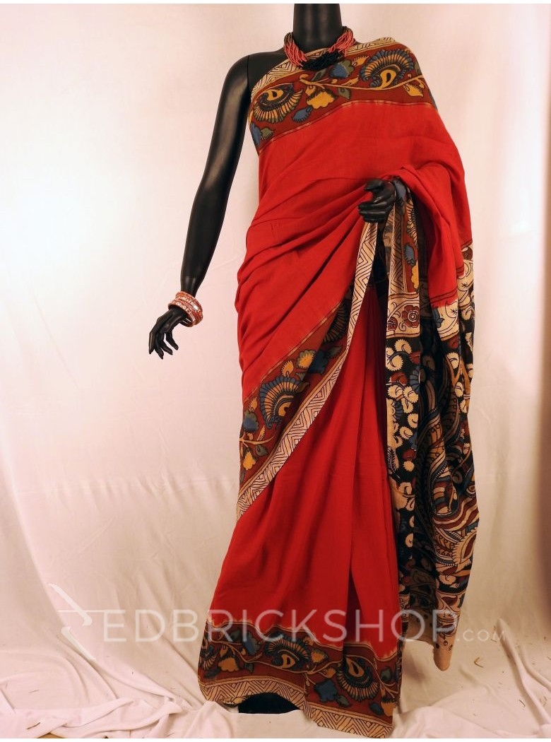 KALAMKARI PLAIN FLORAL RED SAREE
