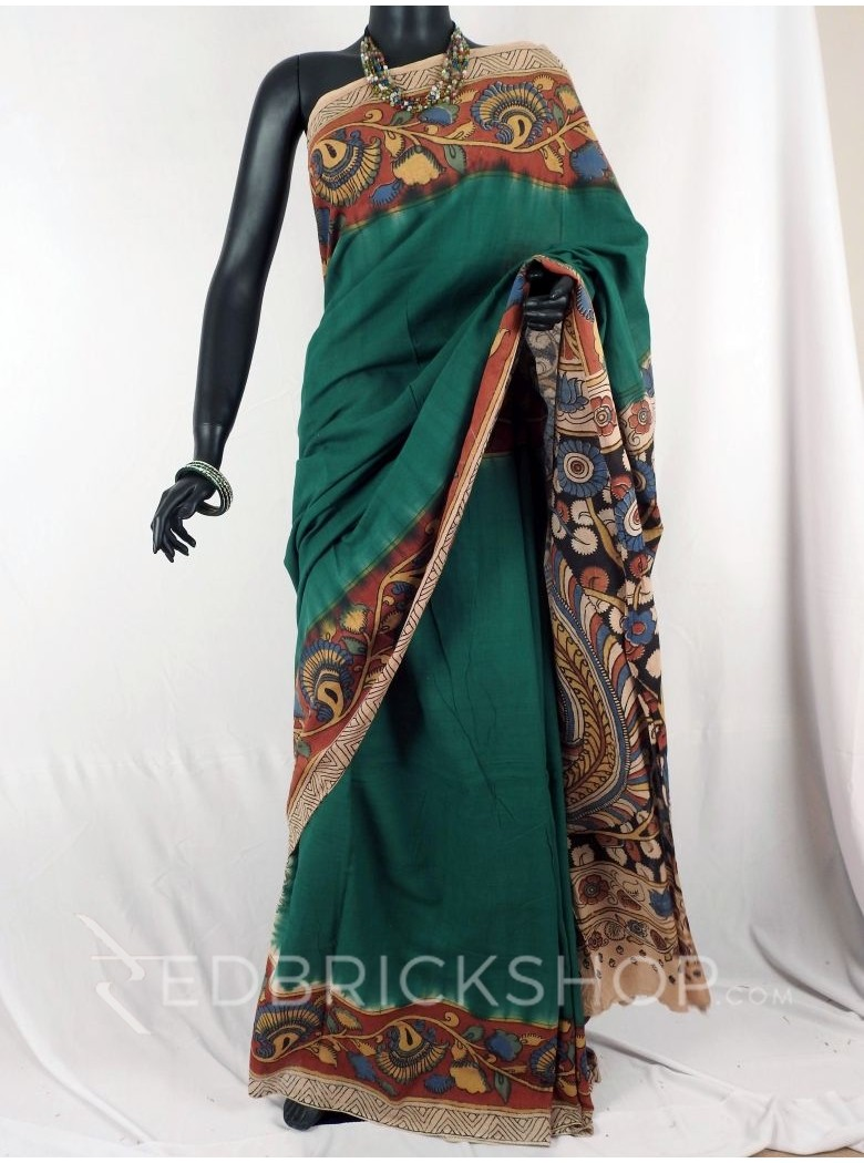 KALAMKARI PLAIN FLORAL GREEN SAREE