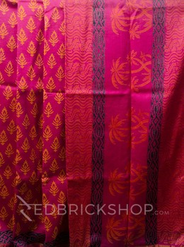 CHANDERI FLORAL FUCHSIA-YELLOW SAREE