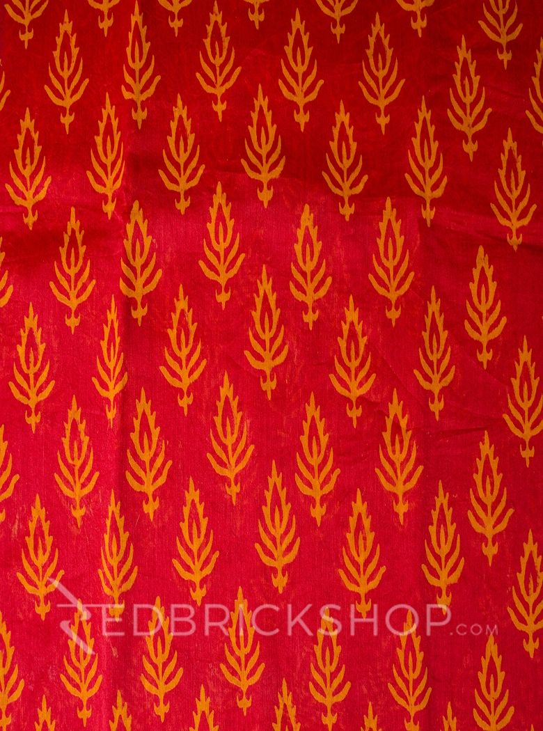 CHANDERI FLORAL TOMATO RED-MUSTARD SAREE