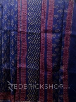 CHANDERI TREE INDIGO-MUSTARD SAREE