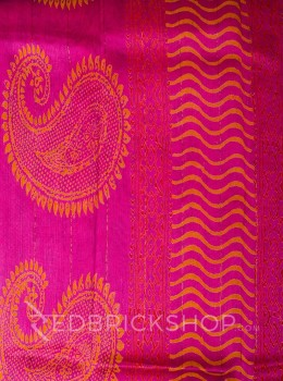 CHANDERI FLORAL FUCHSIA-BROWN SAREE