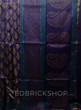 CHANDERI TREE NAVY-MUSTARD SAREE