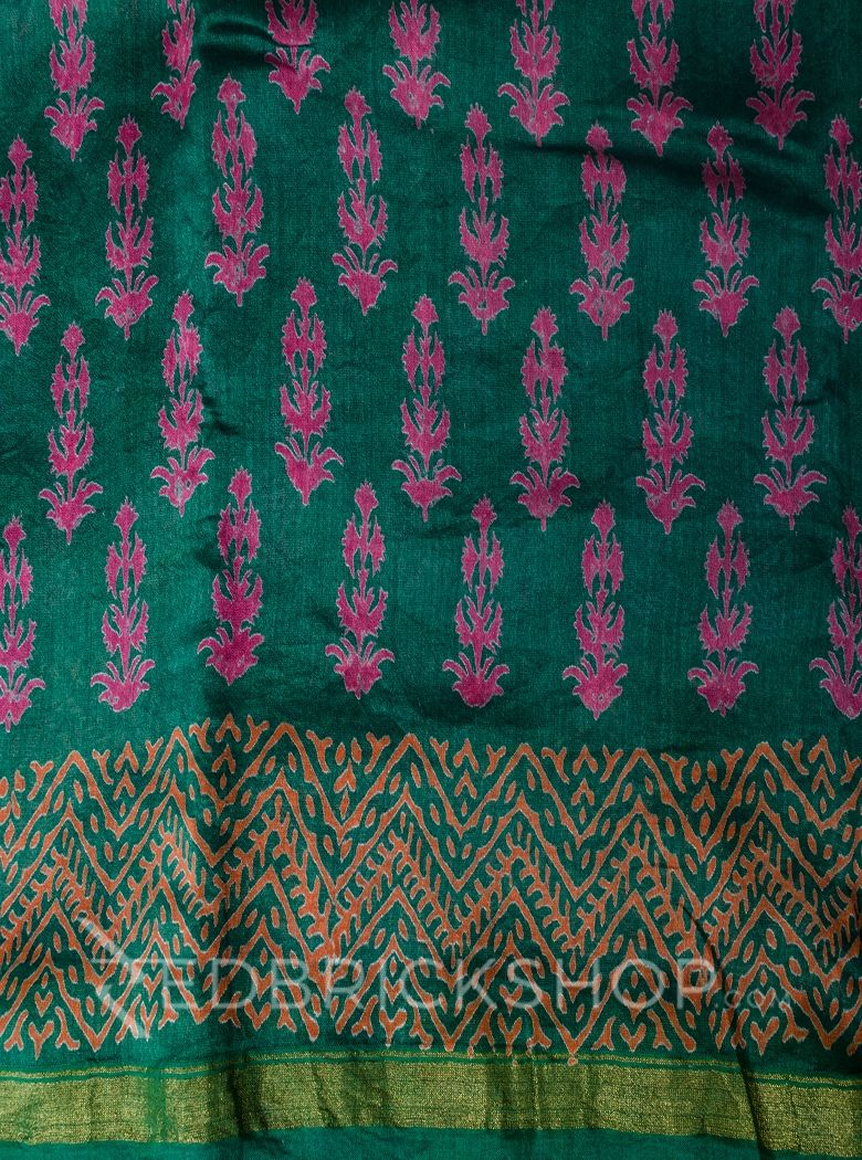 CHANDERI FLORAL GREEN-FUCHSIA SAREE