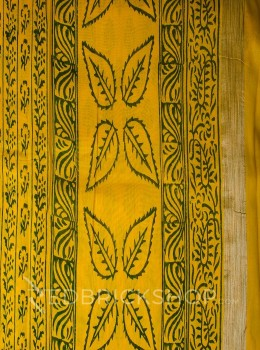 CHANDERI FLORAL YELLOW-BOTTLE GREEN SAREE