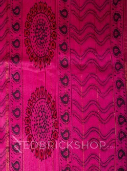 CHANDERI PAISLEY PINK-RED-GREEN SAREE
