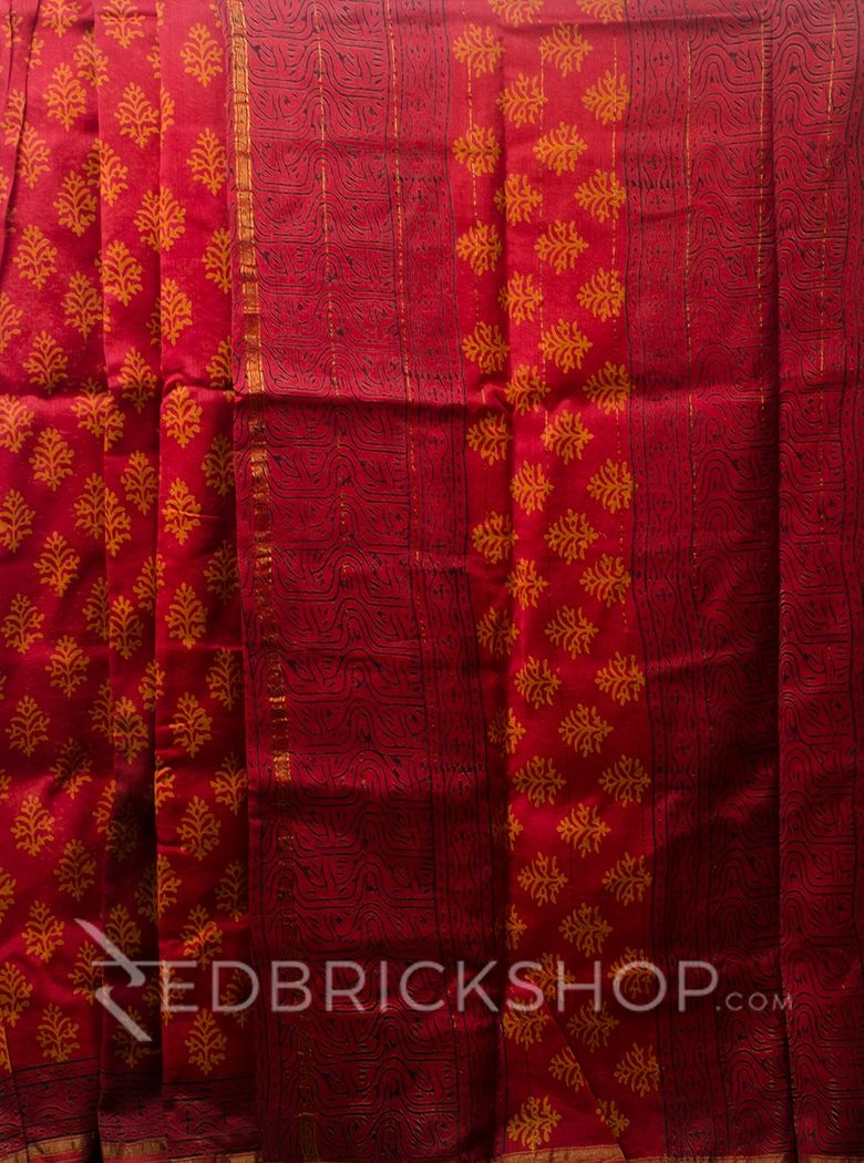 CHANDERI FLORAL RED-MUSTARD SAREE