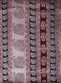 MAHESHWARI PAISLEY CREAM-BLACK-MAROON SAREE