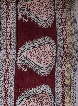 MAHESHWARI FLORAL NARROW CREAM-BLACK-MAROON SAREE