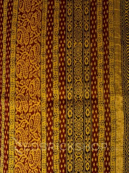 CHANDERI PAISLEY LEAF MAROON-MUSTARD-BLACK SAREE