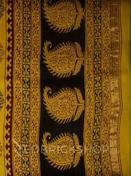 MAHESHWARI PAISLEY ARROW MUSTARD-BLACK-MAROON SAREE
