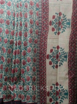 BLOCK PRINT LOTUS ROSE COTTON SAREE